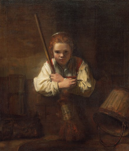 A Girl with a Broom - Small