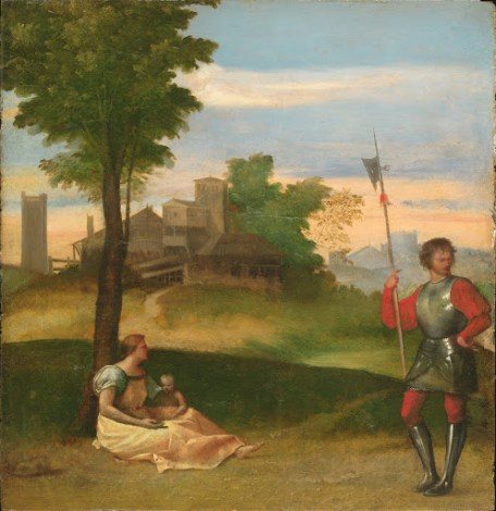 An Idyll A Mother and a Halberdier in a Wooded Landscape - Small